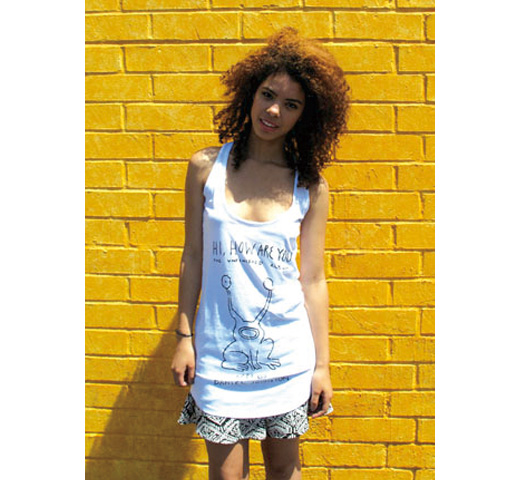 【Worn Free】 Kurt Cobain / Hi How Are You Tank Top (White) (Womens)