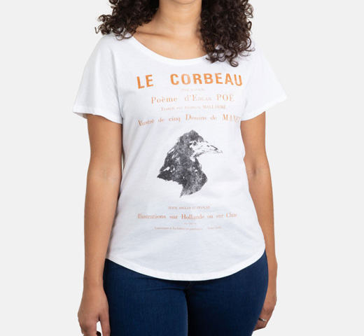 [Out of Print] Edgar Allan Poe / Le Corbeau Relaxed Fit Tee (White) (Womens)