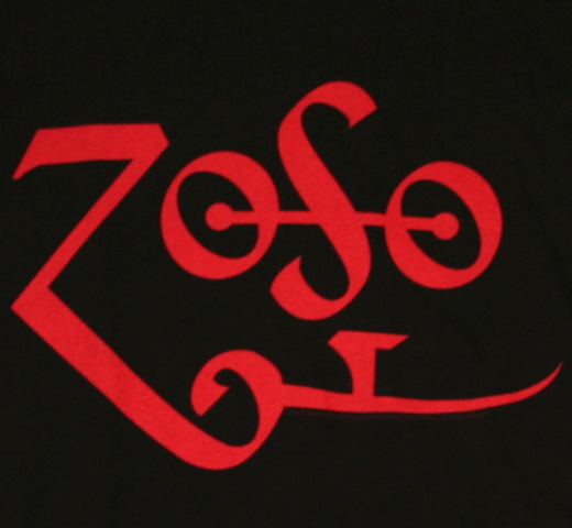 Led Zeppelin / Jimmy Page Zoso Tee (Black / Red) (Womens)