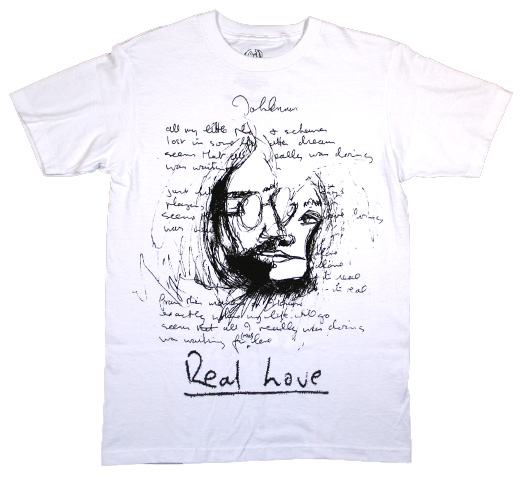 【English Laundry】 John Lennon / Real Love Sketch Tee (White)