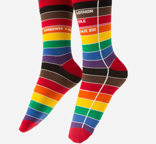 [Out of Print] Library Card Socks (Rainbow)