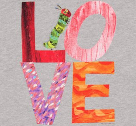【Out of Print】 Eric Carle / The World of Eric Carle LOVE from The Very Hungry Caterpillar Tee (Heather Grey)