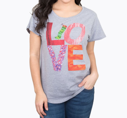 【Out of Print】 Eric Carle / The World of Eric Carle LOVE from The Very Hungry Caterpillar Dolman Tee (Heather Grey) (Womens)