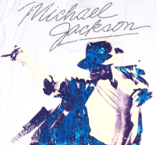 【Amplified】 Michael Jackson / Portrait Tee (White) (Diamante) (Womens)