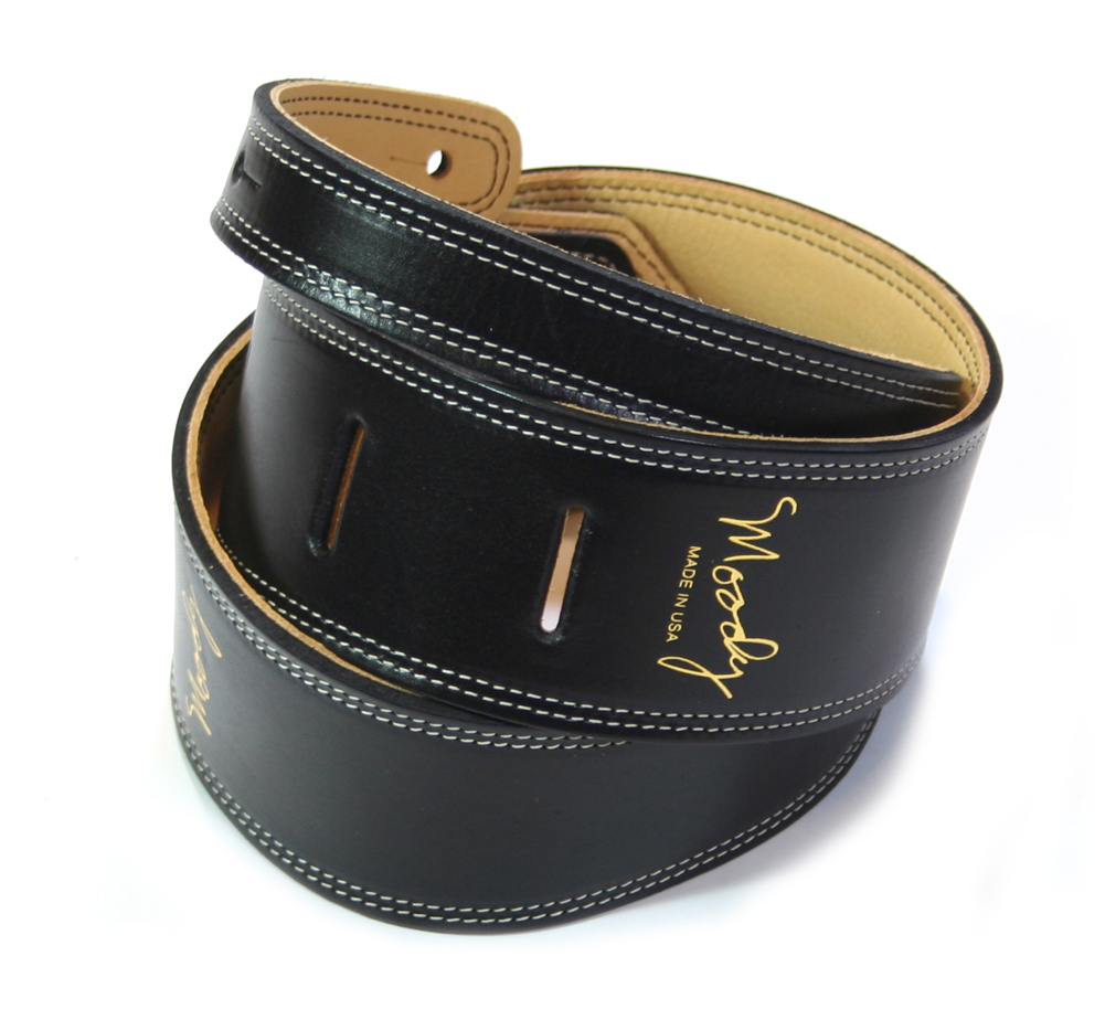 "【Moody Leather】 Leather Backed Guitar Strap [Standard / 2.5""] (Black / Cream)"