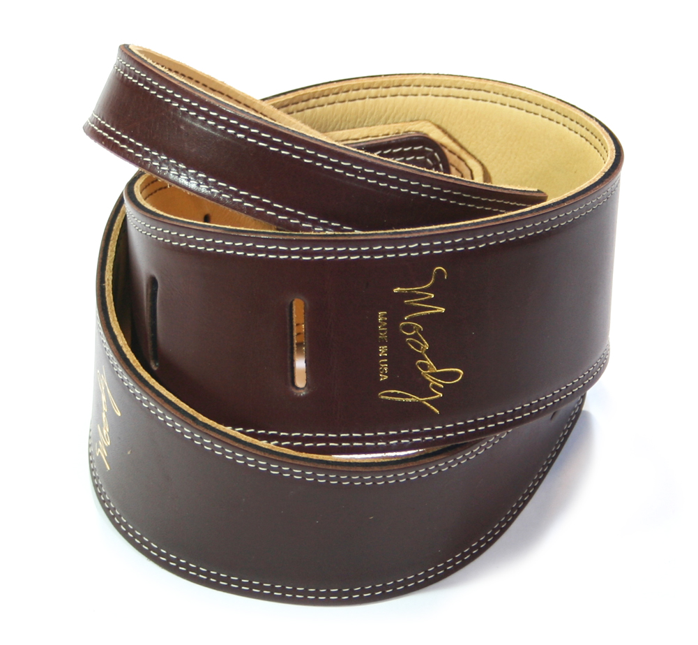 "【Moody Leather】 Leather Backed Guitar Strap [Standard / 2.5""] (Dark Chocolate / Cream)"