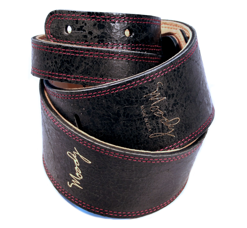 "[Moody Leather] Distressed Leather Backed Guitar Strap [Standard / 2.5""] (Black / Cream)"