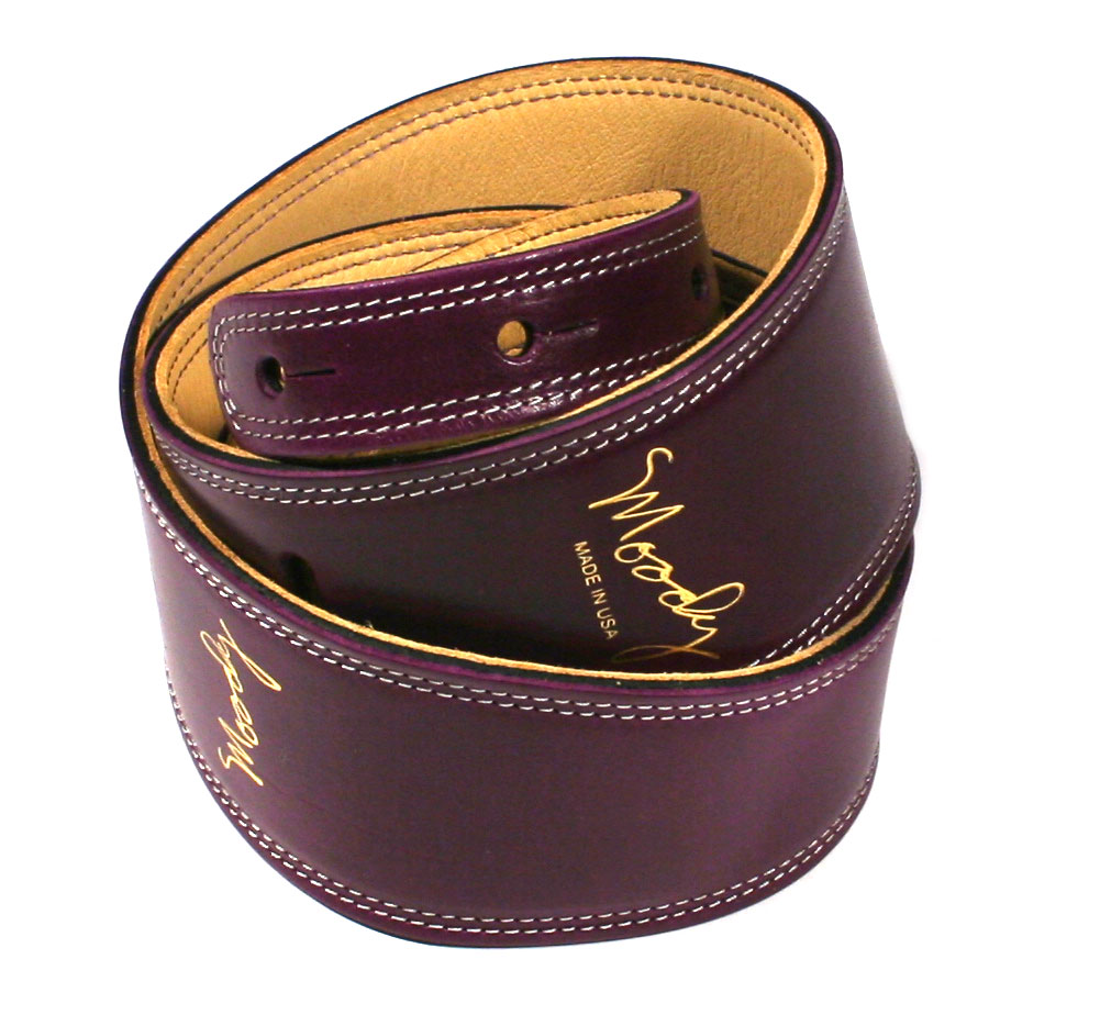 "[Moody Leather] Leather Backed Guitar Strap [Standard / 2.5""] (Purple / Cream)"