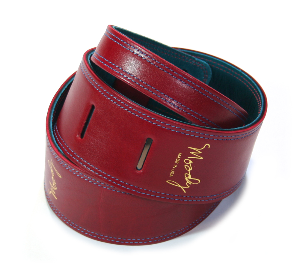 "【Moody Leather】 Distressed Leather Backed Guitar Strap [Standard / 2.5""] (Red / Sapphire Blue)"