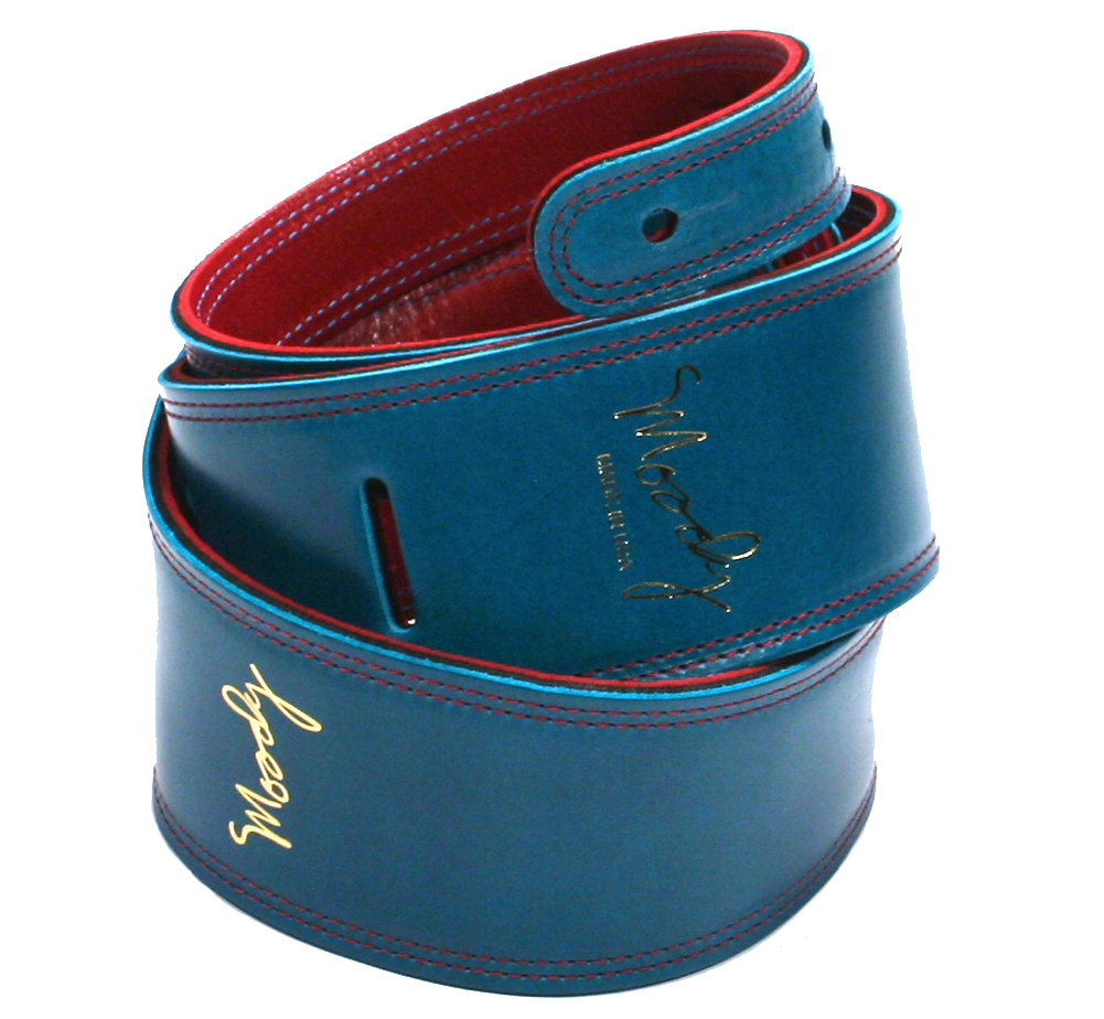"[Moody Leather] Leather Backed Guitar Strap 2 [Standard / 2.5""] (Sapphire Blue / Red)"