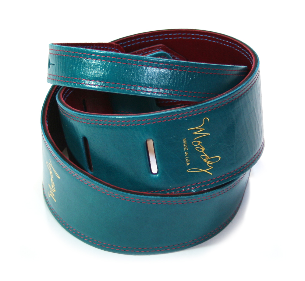 "【Moody Leather】 Leather Backed Guitar Strap [Standard / 2.5""] (Sapphire Blue / Red)"