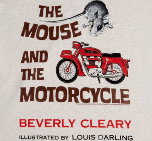 【Out of Print】 Beverly Cleary / The Mouse and the Motorcycle V-Neck Tee (Sand) (Womens)