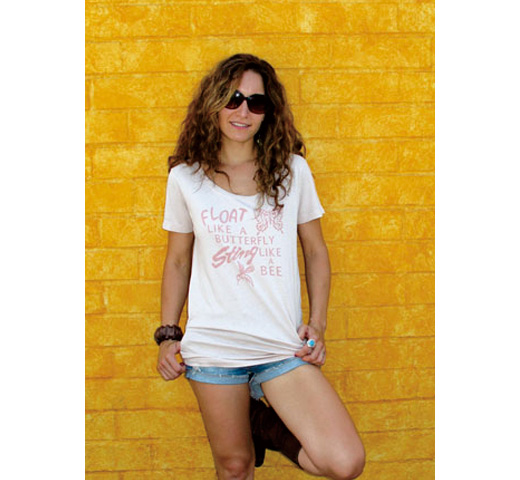 【Worn Free】 Muhammad Ali / Float Like a Butterfly Sting Like a Bee Scoop Neck Tee (Washed Pink) (Womens)