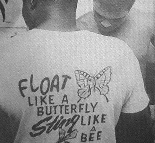 【Worn Free】 Muhammad Ali / Float Like a Butterfly Sting Like a Bee Tee (Navy)