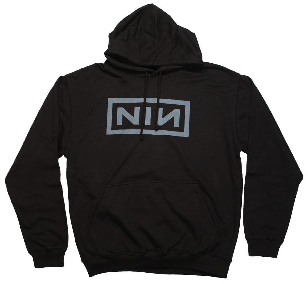 Nine Inch Nails / Classic Grey Logo Hoodie (Black)