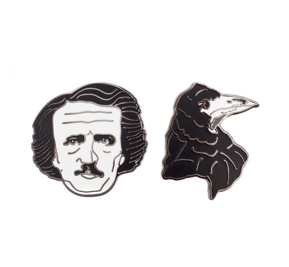 【Out of Print】 Edgar Allan Poe and Raven Enamel Pin Set
