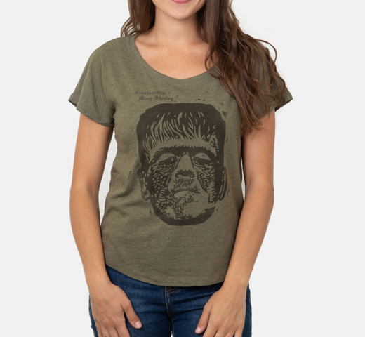 [Out of Print] Mary Wollstonecraft Shelley / Frankenstein Relaxed Fit Tee [Penguin Horror] (Green) (Womens)