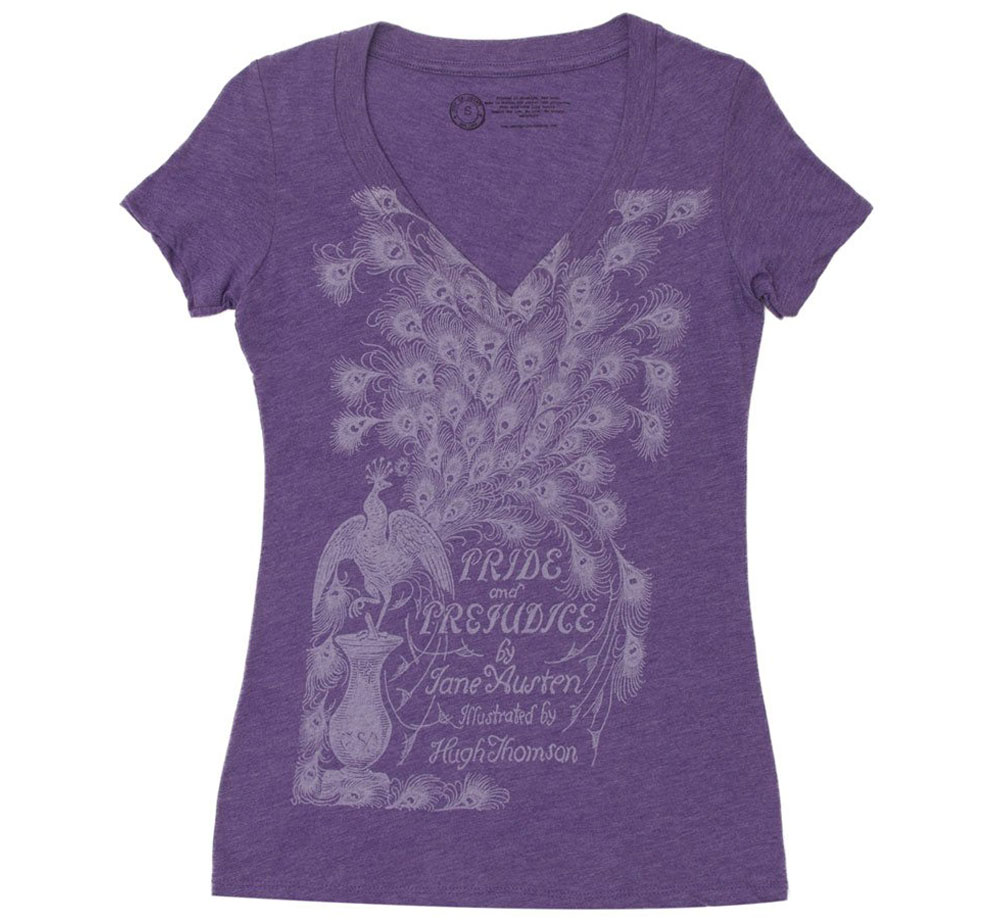 [Out of Print] Jane Austen / Pride and Prejudice V-Neck Tee 2 (Purple) (Womens)