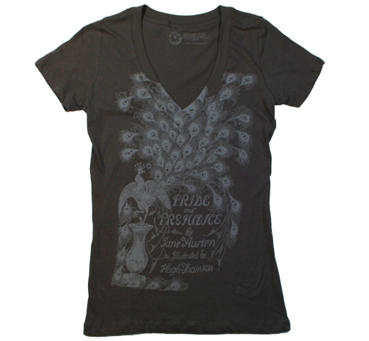 【Out of Print】 Jane Austen / Pride and Prejudice V-Neck Tee (Dark Grey) (Womens)