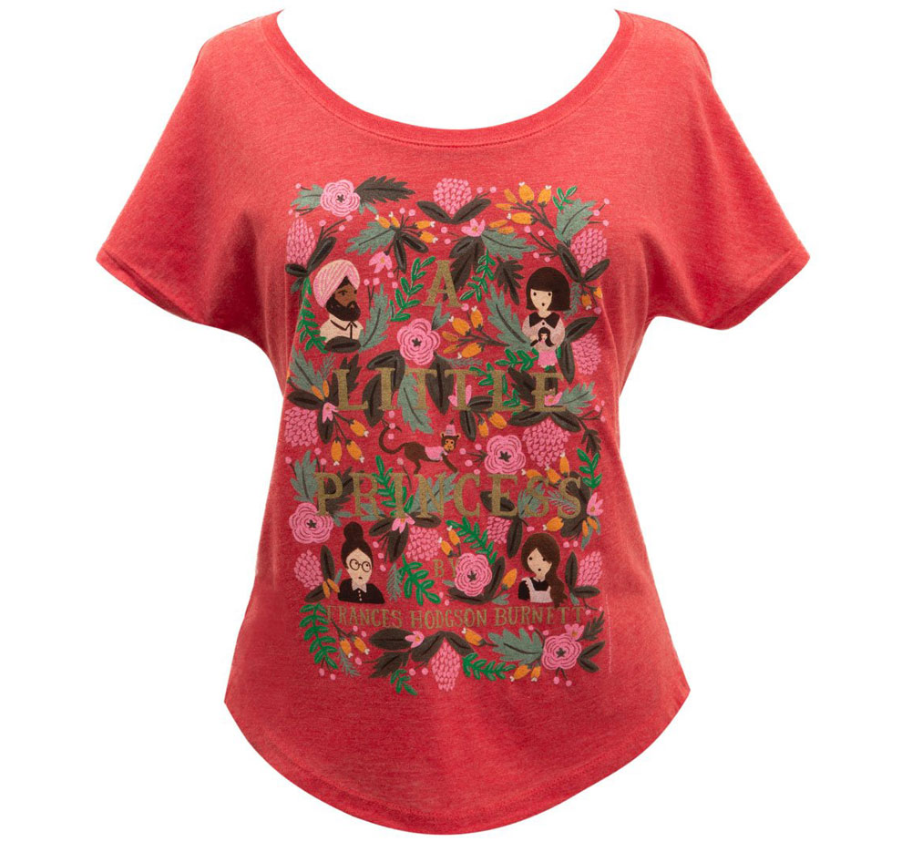 [Out of Print] Frances Hodgson Burnett / A Little Princess Relaxed Fit Tee [Puffin in Bloom] (Vintage Red) (Womens)