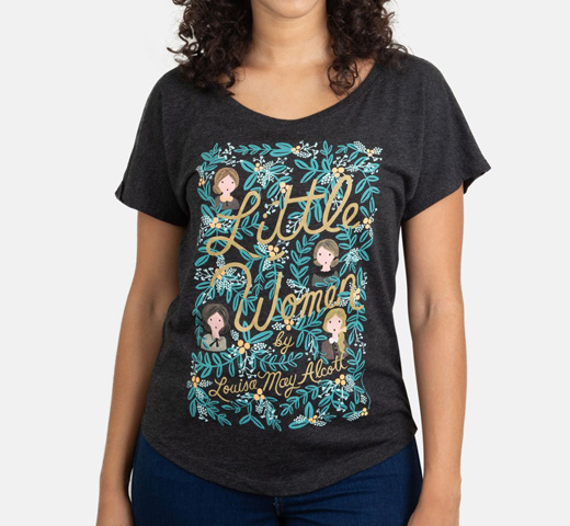 [Out of Print] Louisa May Alcott / Little Women Relaxed Fit Tee [Puffin in Bloom] (Vintage Black) (Womens)