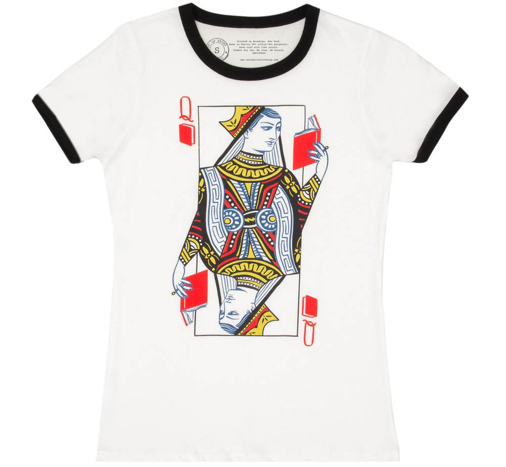 [Out of Print] Queen of Books Ringer Tee (White/Black) (Womens)