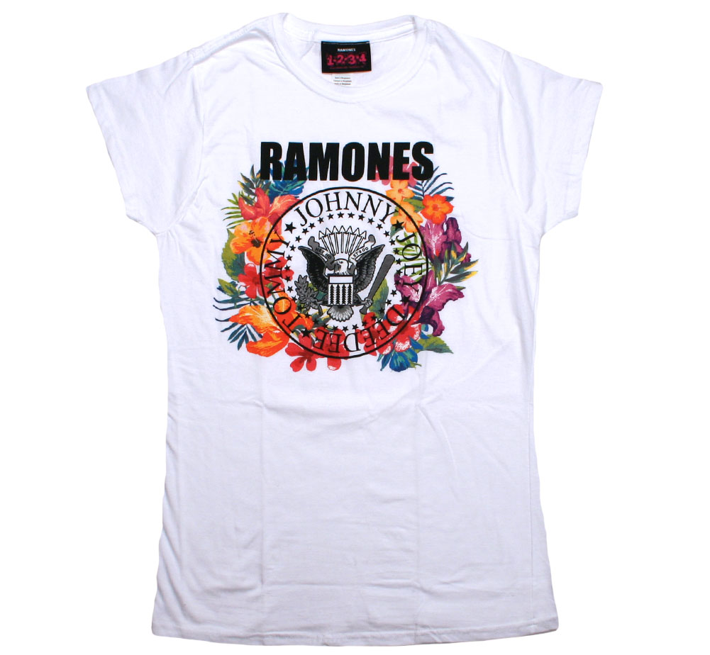 Ramones / Presidential Seal Flowers Tee (White) (Womens)