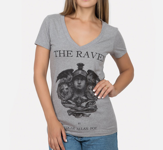 [Out of Print] Edgar Allan Poe / The Raven V-Neck Tee (Dark Heather Grey) (Womens)
