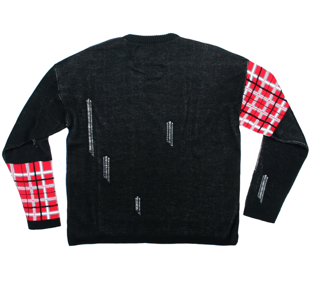 Sex Pistols / Distressed Tartan Logo Jumper (Black)