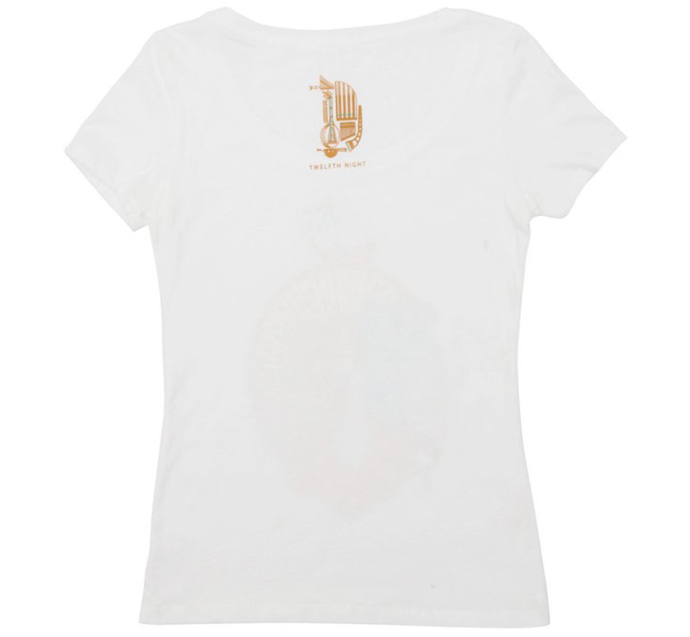 【Out of Print】 William Shakespeare / Twelfth Night Scoop Neck Tee (White) (Womens)