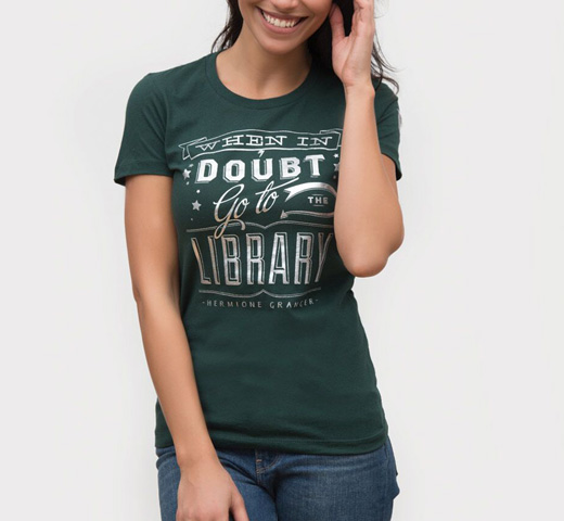 【Out of Print】 Hermione Granger / When in doubt, go to the library Tee (Slytherin Green) (Womens)