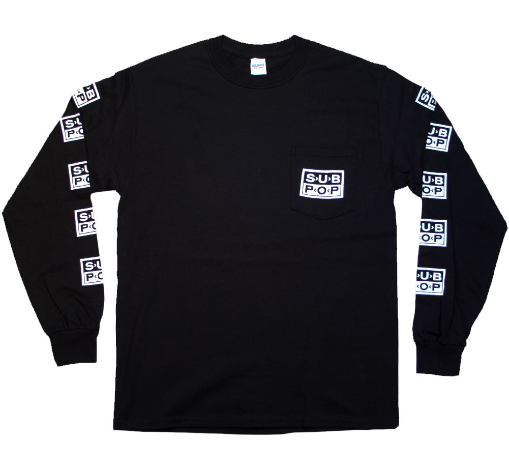 Sub Pop Records / Logo Pocket Long Sleeved Tee (Black)