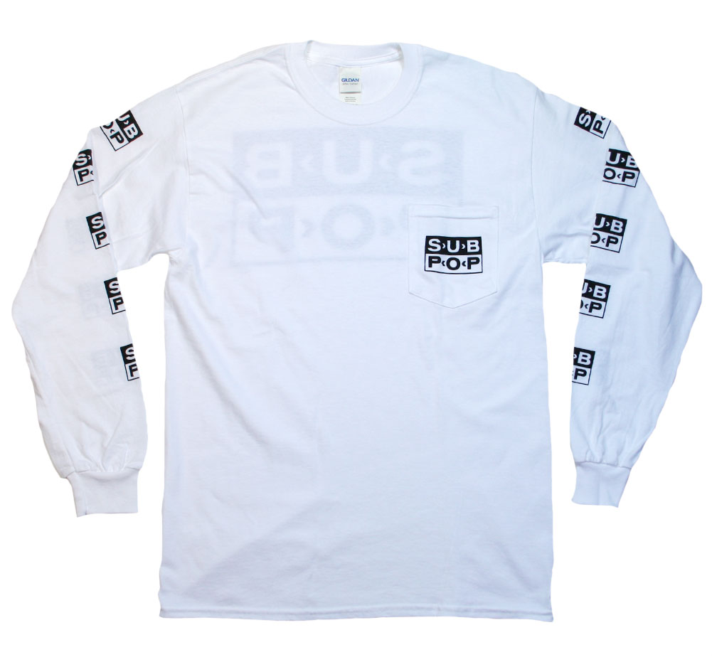 Sub Pop Records / Logo Pocket Long Sleeved Tee (White)