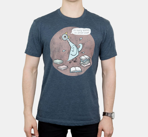 [Out of Print] Mo Willems / The Pigeon: So Many Books, So Little Time! Tee (Indigo)