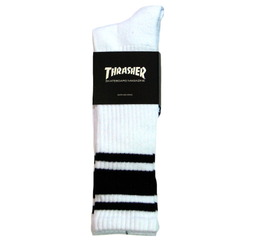【THRASHER】 Mag Logo Hi Socks [TH8881] (White / Black)