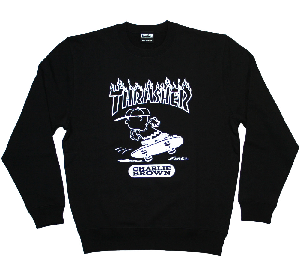 【THRASHER X PEANUTS】 CHARLIE BROWN Crew Sweat (Black)