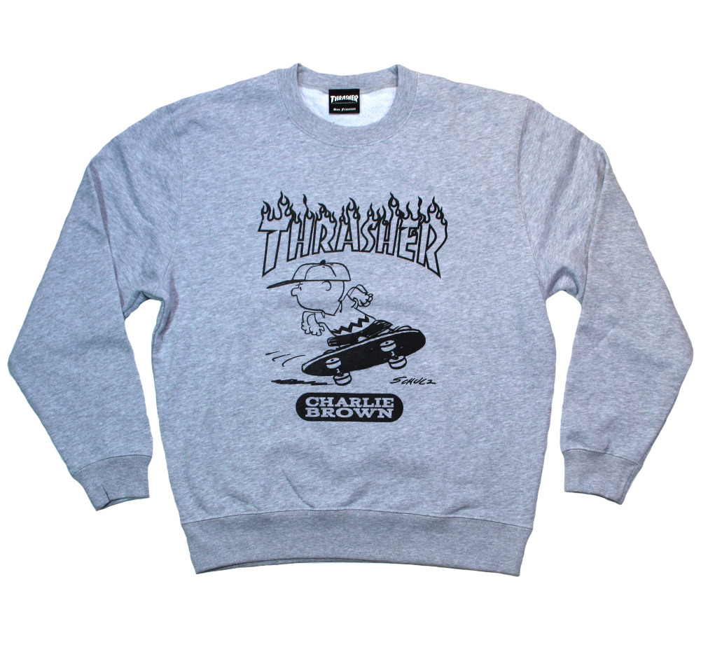 【THRASHER X PEANUTS】 CHARLIE BROWN Crew Sweat (Grey)