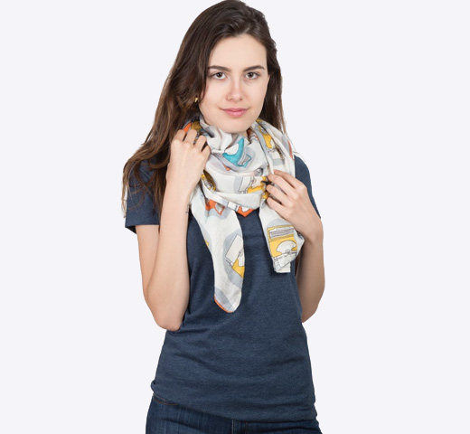 [Out of Print] Typewriter Lightweight Scarf (White)