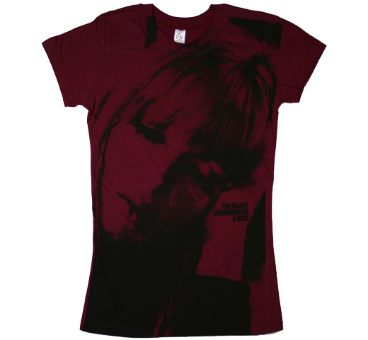 The Velvet Underground & Nico Big Print  Tee (Wine Red) (Ladies)