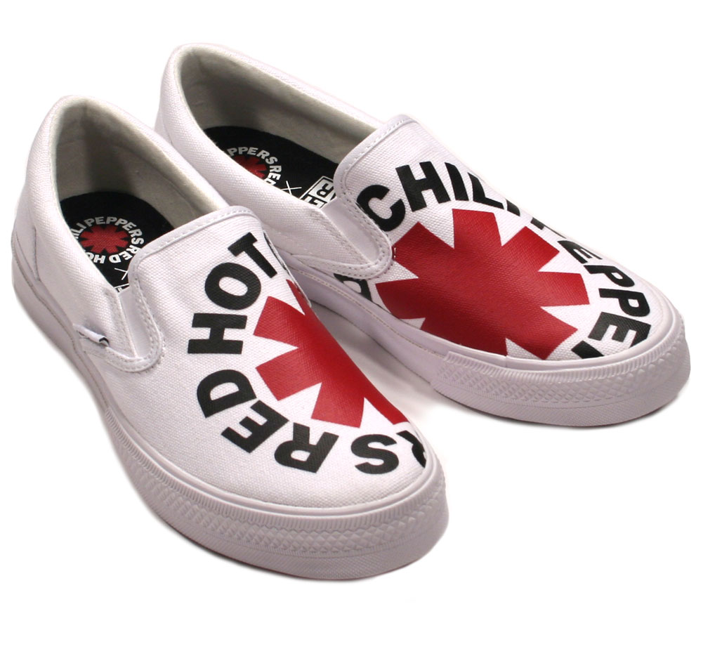 [VISION STREET WEAR] Red Hot Chili Peppers / Canvas Slip-On (VSW-9158) (White)