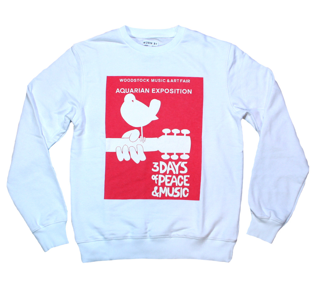 【Worn By】 Woodstock Music & Art Fair / Logo Sweatshirt (White)